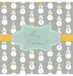 Vintage Christmas Card - Retro Snowman vector image vector image