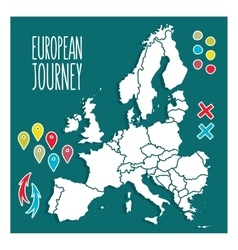 Vintage Hand drawn Europe travel map with pins vector image vector image