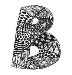 Vintage monogram b doodle alphabet character with vector