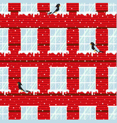 windows seamless pattern and red wall vector image vector image