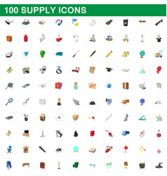 100 supply icons set cartoon style vector image vector image