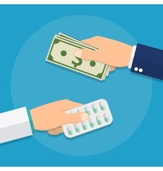 Hand giving money for medicine vector