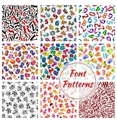 Font patterns cartoon alphabet letters numbers vector