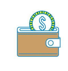 brown wallet with coin money inside vector image