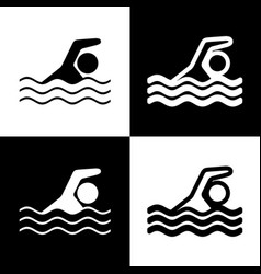 swimming water sport sign  black and white vector image