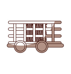 Farm carriage with straw isolated icon vector