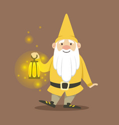 cute dwarf in a yellow jacket and hat standing vector image
