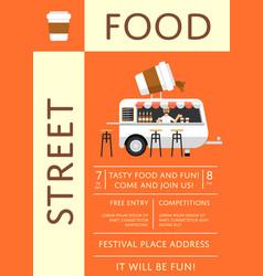 Street food festival invitation in flat style vector