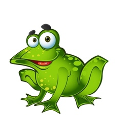 Smiling green frog vector