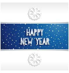 Happy new year banner volume lettering on blue bac vector