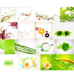 Nature green abstract backgrounds mega collection vector image