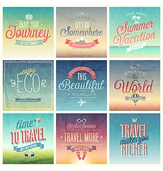 Travel set vintage vector