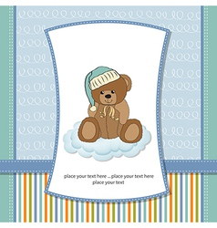 Customizable greeting card with teddy bear vector