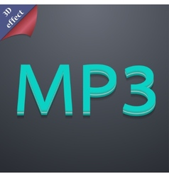 Mp3 music format icon symbol 3d style trendy vector
