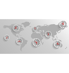 Clock on the map of the world business concept vector