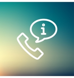 Talking by phone via internet thin line icon vector