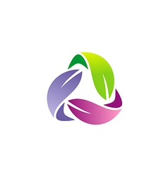 Circle colorful leaf organic logo vector