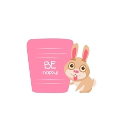 Cute bunny with a sign for text vector