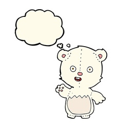 Cartoon waving polar bear cub with thought bubble vector