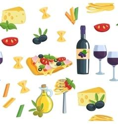 Seamless cartoon flat background with Italian food vector image