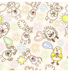 Childe drawing seamless pattern vector image