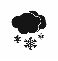 Cloud and snow icon black simple style vector
