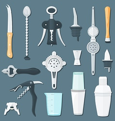 Barman equipment flat set vector