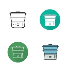 Steam cooker icons vector