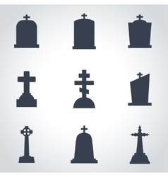 black gravestone icon set vector image