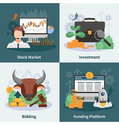 Investment and trading 2x2 design concept vector