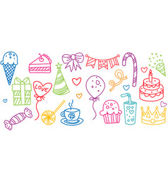 birthday elements set hand drawn party symbols vector image