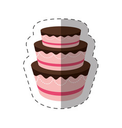 Cake dessert delicious sweet shadow vector