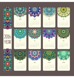 Calendar 2016 with mandalas vector