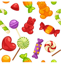 candy and caramel sweets seamless pattern vector image