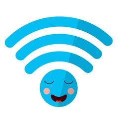 Cartoon wifi internet signal kawaii character vector