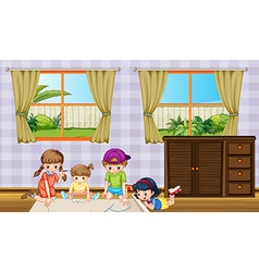 Children drawing picture in the room vector image vector image