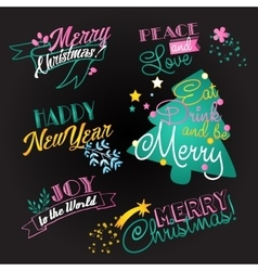 Christmas and ny lettering set vector