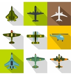 Combat aircraft icons set flat style vector