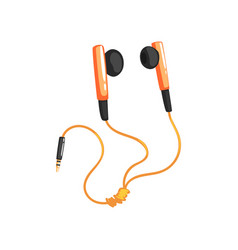 Earphones or earbuds with adapter cord music vector