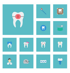 Flat icons enamel tooth seal implantation and vector