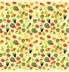 fruit pattern on a yellow background vector image vector image