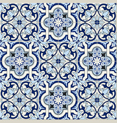 Gorgeous seamless pattern white blue moroccan vector