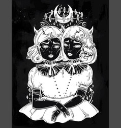 Gothic witchcraft siamese twins vector