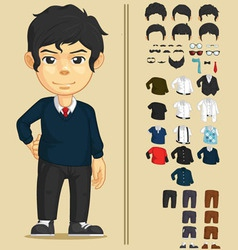 Handsome man customizable character vector