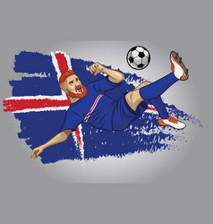 Iceland football player with flag as a background vector