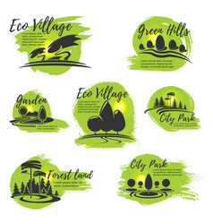 Icons for eco park and gardening company vector