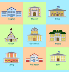 Icons set of colorful public vector