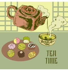 Japanese teapot and cup vector
