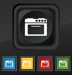 kitchen stove icon symbol Set of five colorful vector image