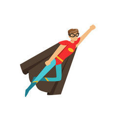 Male superhero in classic comics costume in flying vector